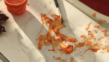 Отчёт по занятию Яркая тыква пальчиковыми красками в Wachanga!