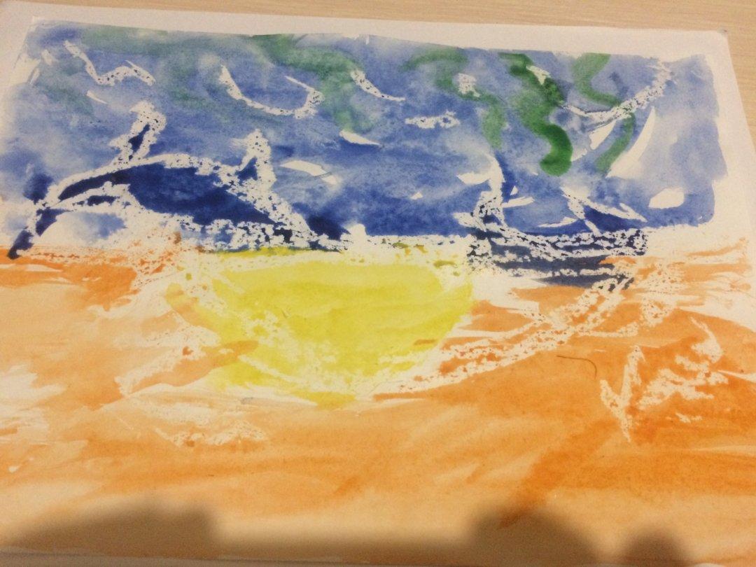 Отчёт по занятию Предложите ребенку порисовать акварелью и свечой в Wachanga!
