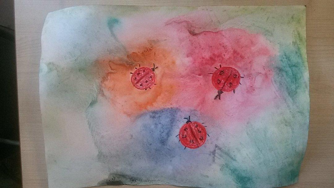 Отчёт по занятию Нарисуйте вместе с малышом божьих коровок на цветочном лугу в Wachanga!