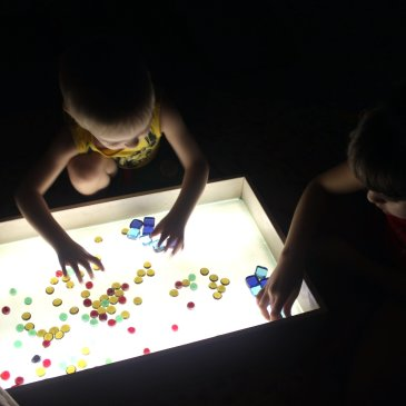 Playing with glass pebbles