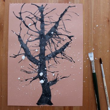 Нарисуйте вместе с ребенком зимнее дерево