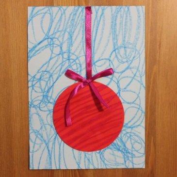 Сделайте новогоднюю открытку «Красный шар»