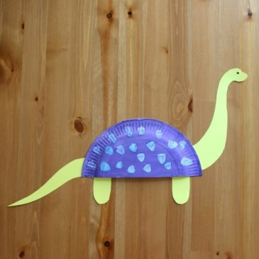 Make dinosaurs out of disposable plates with your kids