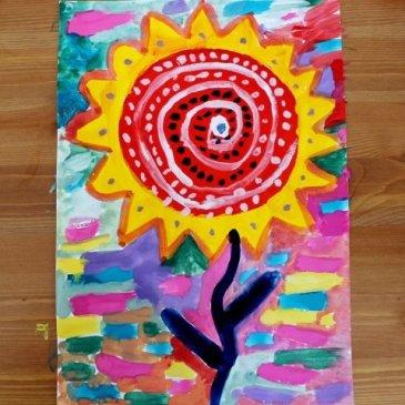 Нарисуйте вместе с ребенком волшебный цветок