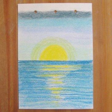 Нарисуйте вместе с ребенком море с помощью пастели