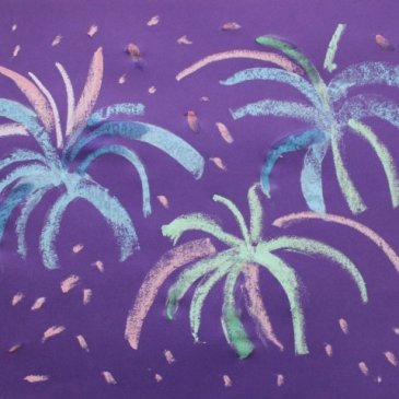Рисуем салют разноцветными мелками