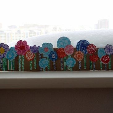 Сделайте вместе с ребенком клумбу с цветами из бумаги и картона