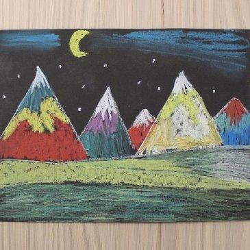Нарисуйте вместе с ребенком горы с помощью пастели