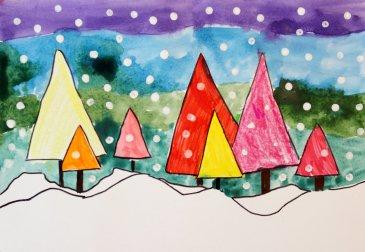 Как нарисовать зимний лес