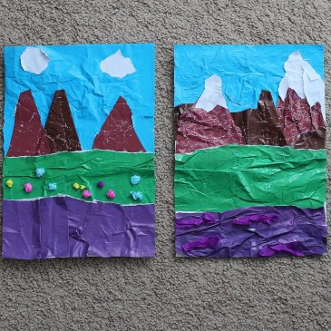 Make a crumpled applique with your kid!