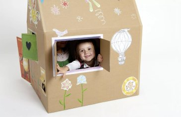 Make a house out of a cardboard box with your kid