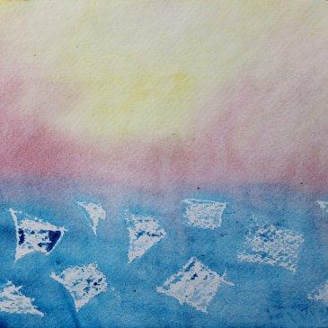 Нарисуйте вместе с ребенком ледоход на реке
