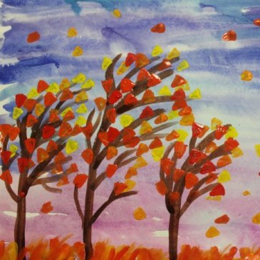 "Paint the picture ""The windy day""  with your kid"