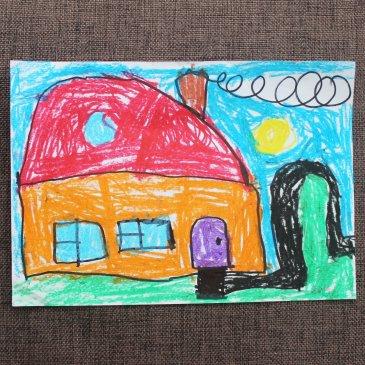 Научите ребенка рисовать домик