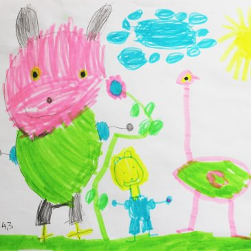 Create an album of kid's drawings!