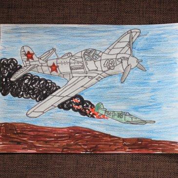 Предложите ребенку нарисовать военную технику (самолет, танк)