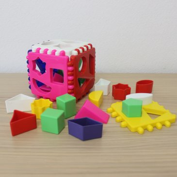Play with a developing toy for sorting objects