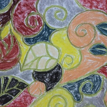 Draw a floral ornament with your kid using pastels