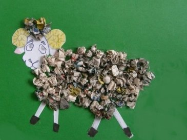 "Applique ""The Lamb"" using old magazines"