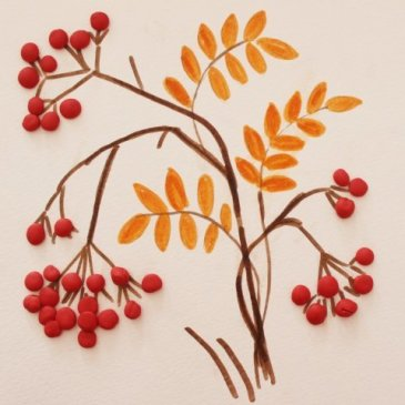 "Plasticine applique ""The Rowanberry"""