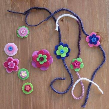 Сделайте вместе с дочкой браслетики из пряжи и фетра!