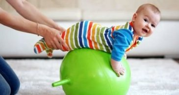 Play on an exercise ball