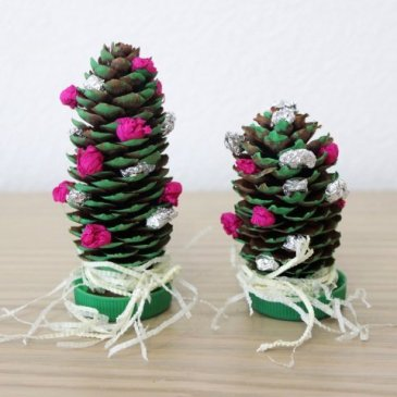 Christmas trees made out of cones