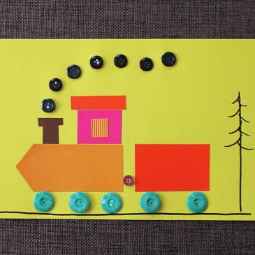 Make with the kid an applique of paper and buttons!