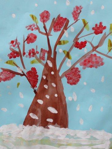 Rowan tree under snow