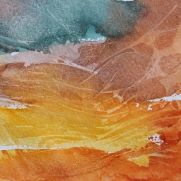Painting with watercolors and food packaging wrappers