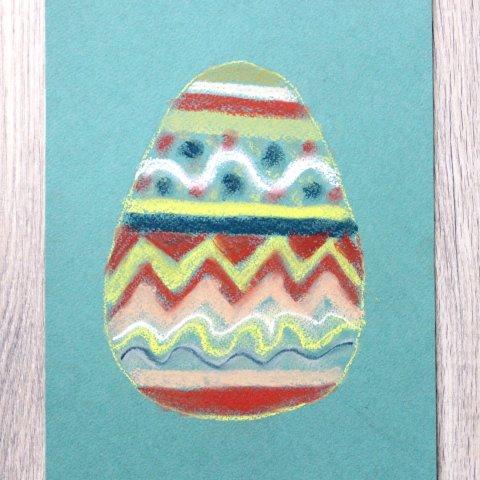 пасхальная открытка нарисованная пастелью
