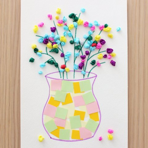 аппликация из цветной бумаги в подарок маме на 8 марта