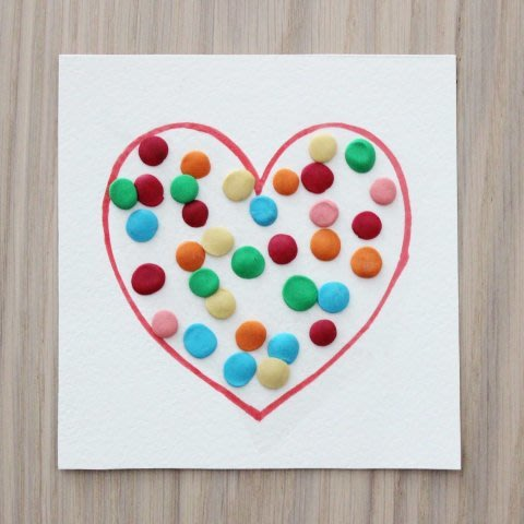 Valentine card made out of plasticine