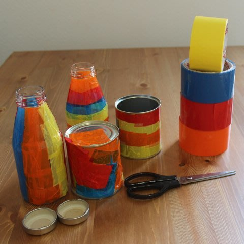Decorate bottles with color scotch tape!