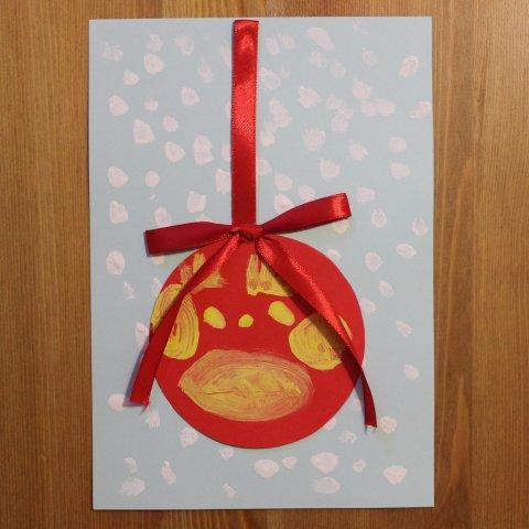шарик на открытке своими руками поздравление с новым годом детское творчество