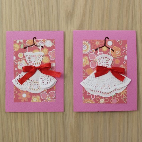 Craft cute cards with dresses with your kid