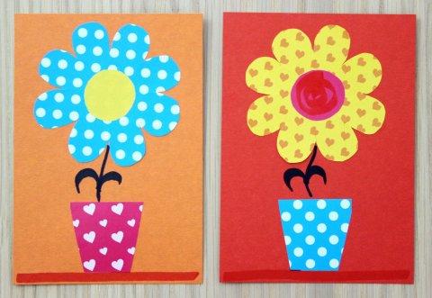 открытка цветок в горшочке к 8 марта красного и оранжевого цвета