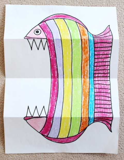 Картинка к занятию Как сделать зубастую рыбу из бумаги в Wachanga