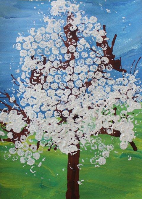 как нарисовать картину цветущая яблоня гуашью вместе с ребенком
