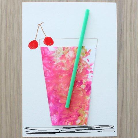 как вместе с ребенком сделать летнюю аппликацию коктейль с вишенками