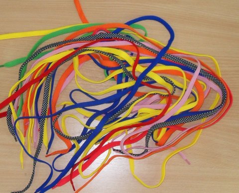 Playing with ribbons and laces