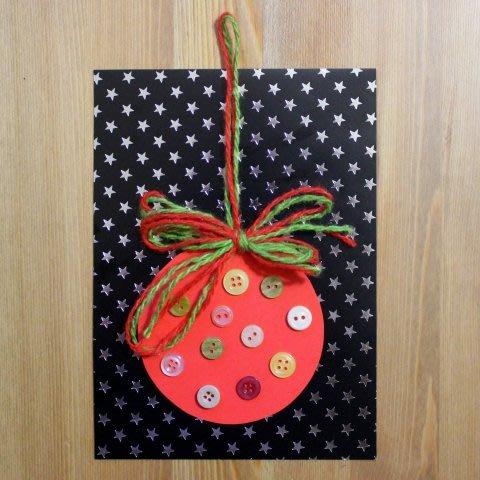 Сделайте новогоднюю открытку «Ёлочный шарик»