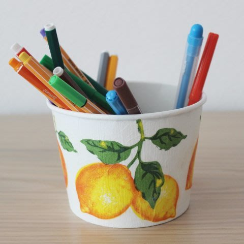 Decoupage stand for pencils