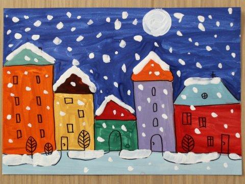 как вместе с ребенком нарисовать картину снегопад в городе гуашью и фломастерами