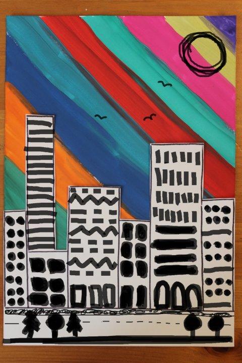как нарисовать вместе с ребенком картину большой город с помощью гуаши и фломастеров