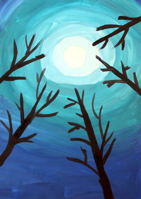 Картинка к занятию Лунная ночь в лесу в Wachanga
