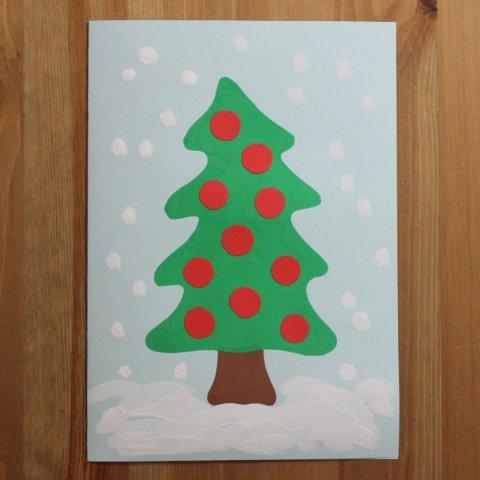 готовая открытка руками ребенка детское творчество поздравление с новым годом