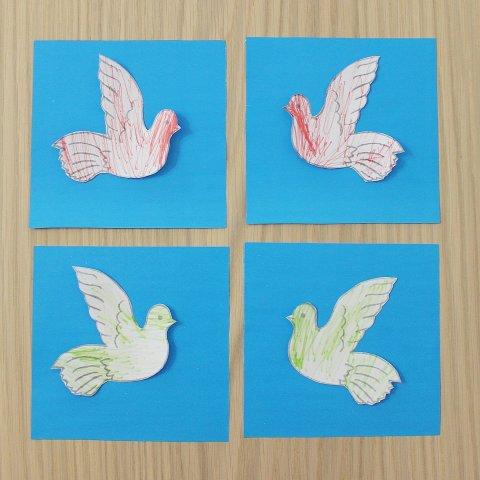 приклеить голубей на цветную бумагу поделка открытка к 1 мая своими руками