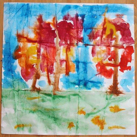 рисунок акварельными красками на мокрой бумаге детское творчество