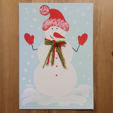 Make a Snowman Christmas Card with your Kid!